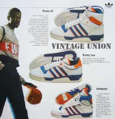 buy online 902d9 fa653 with the New York Knicks, wearing Knicks-appropriate orange and blue adidas.  Then in 1986, Ewing received his first signature shoe, the adidas Ewing  Rivalry ...